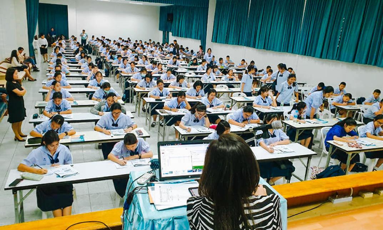 ภาพบรรยากาศ การสอบวัดระดับภาษาอังกฤษ โรงเรียนนวมินทราชินูทิศ บดินทรเดชา